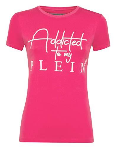 Philipp Plein Damen T-Shirt Round Neck SS Statement Rosa X-Large