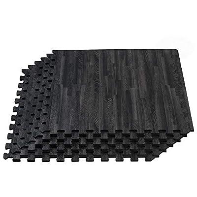 FOREST FLOOR 5/8 Inch Thick Printed Foam Tiles, Premium Wood Grain Interlocking Foam Floor Mats, Anti-Fatigue Flooring, Carbon, 100 Sq Ft