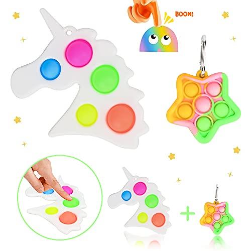 SPECOOL Fidget Toy Packs, Unicornio y Forma Estrella Juguetes Sensoriales, Fidget Juguete Sensorial, Fidget Alivia Estrés y La Ansiedad Toy, Empuje Simple Hoyuelos Squeeze Juguetes para Niños Adultos