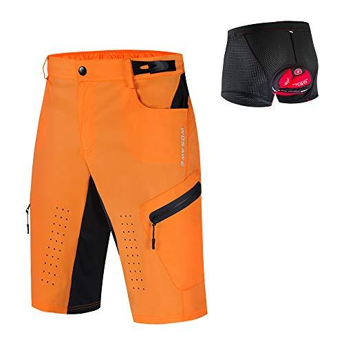 WOSAWE Pantaloncini da ciclismo da uomo Traspiranti Vestibilità Morbida, Pantaloncini MTB 3D Gel Pad Intimo per Formazione Runnig Trekking Arancione con slip imbottito XL
