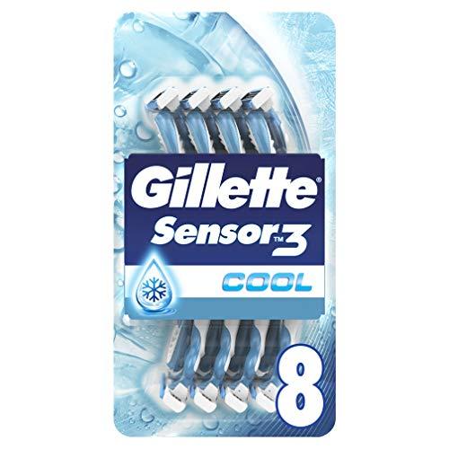 Gillette Sensor3 Cool Disposable Razor for Men, Pack of 8 Razors
