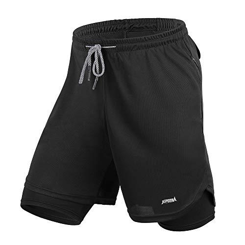 Pantalon Corto Hombre Deporte Verano Pantaloes Cortos con Bolsillos Shorts Deportivos para Running Baloncesto Bicicleta Entrenamiento Futbol Gimnasio Tenis Calzonas Crossfit Mallas Cortas (Negro, XXL)
