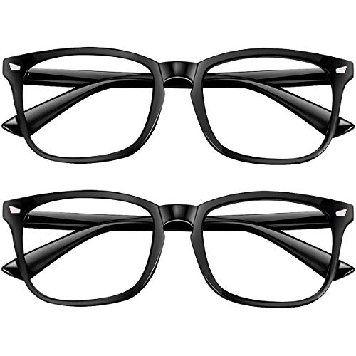 Blue Light Blocking Glasses 2pack Square Computer Glasses Women/Men, Nerd Reading Gaming Glasses Non Prescription (blackX2)