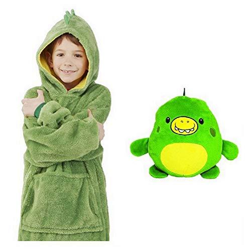 Pijamas cálidos caseros con Capucha, Animales de Peluche con Bolsillos extragrandes Pijamas con Sombrero súper Dalian, Talla única para Todos (Verde)