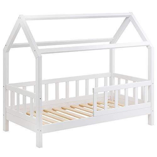 Hausbett für Kinder 80x160 cm - Schönes Kinderbett aus Holz mit Rausfallschutz | Jugendbett im skandinavischen Haus Stil | 80 x 160 Kiefer Bett inkl. Lattenrost | Massivholz Weiß