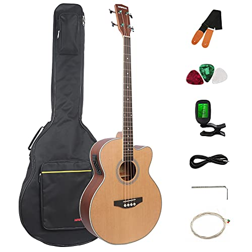 Bass Guitar 4 string Acoustic Electric Bass Guitar Spruce Top Mahogany Back and Sides Adjustable Truss Rod Full Size Bundle with Gig Bag,string,strap By Janerock
