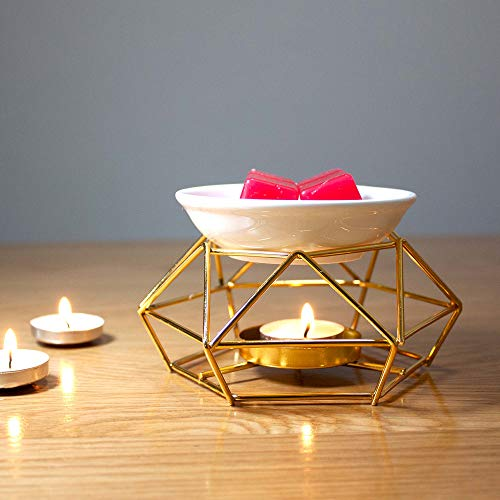 Essential Oil Burner Ceramic and Iron Wax Melter Candle Golden Wax Warmer Tealight Candle Holder Aroma Diffuser for Home Bedroom Living Room Gifts & Décor