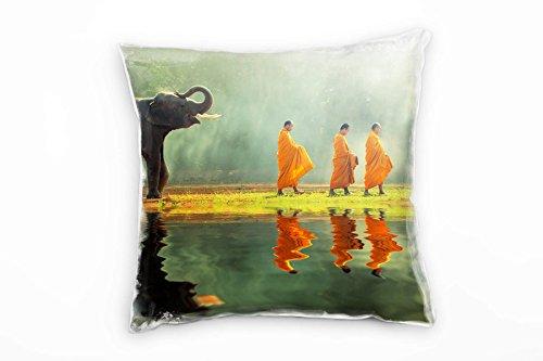 Paul Sinus Art Dieren, olifantenbaby, monnch, grijs, groen, oranje decoratief kussen 40x40cm voor bank bank bank lounge sierkussen - decoratie om je goed te voelen