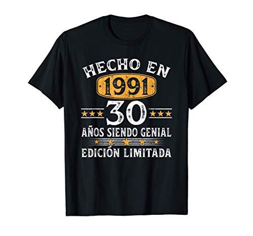 30 Años Cumpleaños Regalo Para Hombre Mujer Hecho En 1991 Camiseta