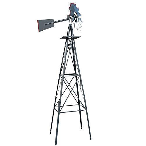 L.J.JZDY Wetterfahne Professionelle Measuring Tools Weathervane 8Ft Windmühle Zier Windrad Garten Wetterfahne (Color : Grau rot, Size : 8Ft)