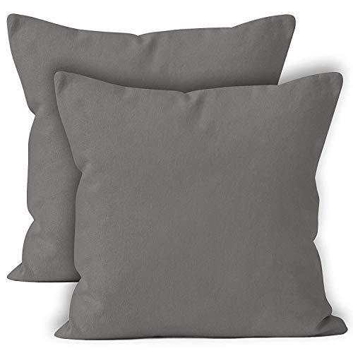 Encasa Homes Kissenbezüge 2 stück (40 x 40 cm) - Grau- Weiche Baumwolle Leinwand unigefärbt rechteckigen Kissenbezug Dekorative für Wohnkultur Wohnzimmer Schlafzimmer Sofa Waschbar