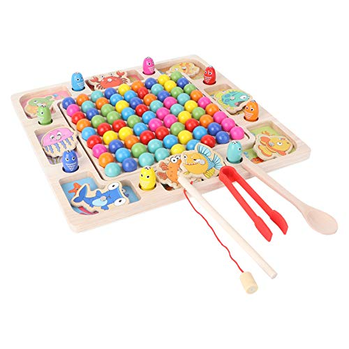 Toddmomy Magnetic Wooden Fishing Game Clip Beads Game Puzzle Board Best Gift for 3 4 5 Years Old Boy Girl Fine Motor Skill Toy