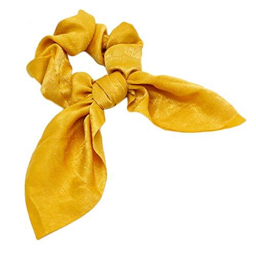 VIccoo Vrouwen Dames Konijn Oren Lint Strik Haar Touw Satijn Doek Glitter Effen Paardenstaart Houder Vintage Grote Intestine Scrunchies - Geel