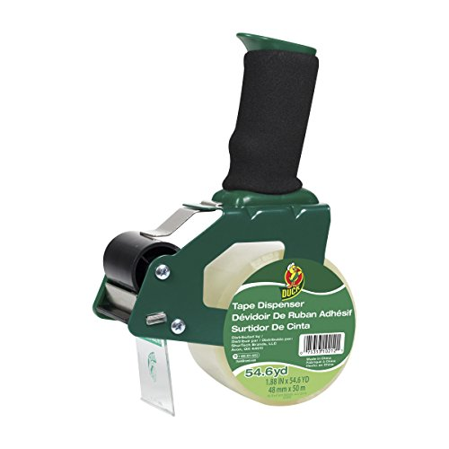Duck Brand Standard Tape Gun with Foam Handle, Includes 1 Roll of 54 Yard Standard Tape (669332), Green/Black