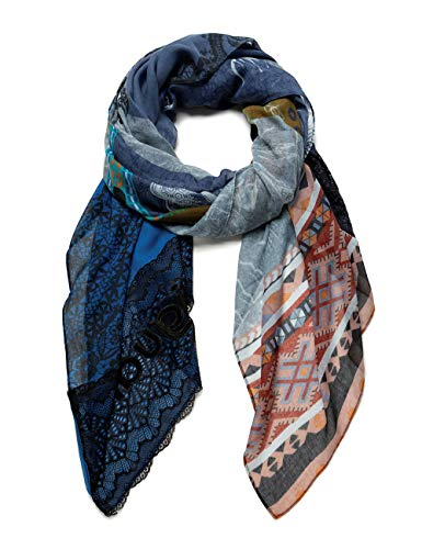 Desigual Womens FOUL_PATCH NIGHT BRIGHT Fashion Scarf, Blue, U