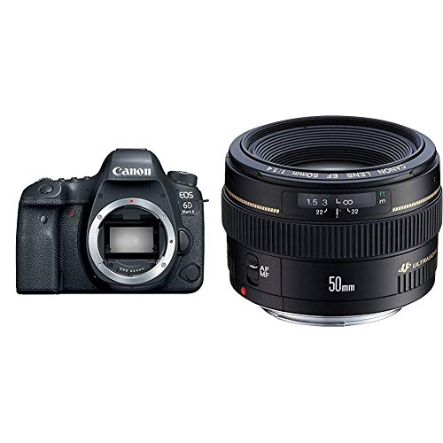 Canon EOS 6D Mark II Digital SLR Camera Body – Wi-Fi Enabled Bundle with Canon EF 50mm f/1.4 USM Standard & Medium Telephoto Lens for Canon SLR Cameras - Fixed