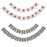 Sinoest Frisch Verheiratet Girlande Hochzeit Banner Wimpelkette Rosa & Grau