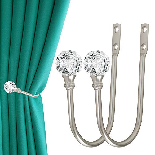 Curtain Holdback, 2pcs Wall Mounted Drapery Tiebacks with Clear Crystal Ball, Heavy Duty Metal Decorative Window Drapery Curtain Holder Curtain Hooks with Screws, Silver
