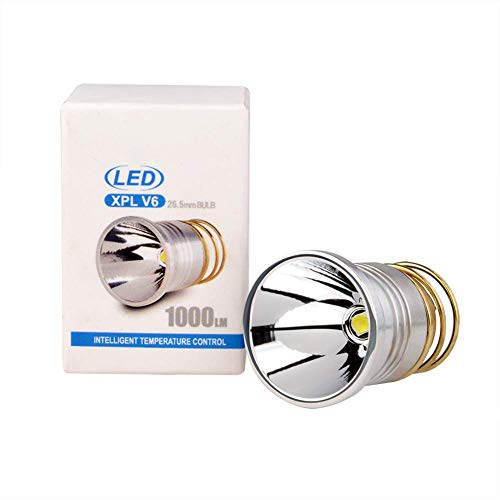 Remplacement Ampoule LED 1000 lumens LED, Ampoules CREE 26.5mm XPL V6 LED pour Surefire Hugsby C2 G2 Z2 6P 9P G3 S3 D2 Ultrafire 501B 502B