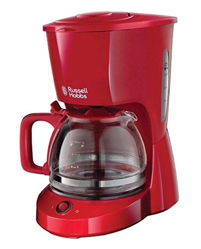 Russell Hobbs Kaffeemaschine Textures rot, bis 10 Tassen, 1,25l Glaskanne, Abschaltautomatik, Wasserstandsanzeige, Warmhalteplatte, Abschaltautomatik, Tropf-Stopp, 975W, Filterkaffeemaschine 22611-56