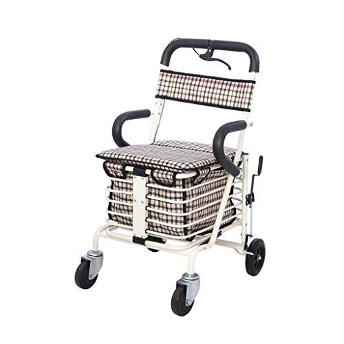 CHenXy 4 Runde Elderly Walker Faltbare Warenkorb Warenkorb Behinderten Gehen Assist sitzen, sitzen Breite 38cm medizinische Walker (Color : White)