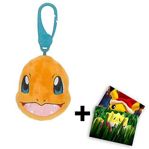 Lively Moments Pokemon Rucksackanhänger Plüschtier / Kuscheltier Schlüsselanhänger Glumanda + GRATIS Grußkarte