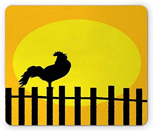 Zaun Mauspad, Hahn Silhouette bei Sonnenaufgang Morgen Land Hühnerfarm Leben, Rechteck rutschfeste Gummi Mousepad, Standardgröße, erdgelb Anthrazit