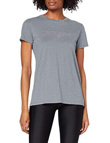 Under Armour Graphic WM Classic Crew Camiseta, Mujer, Gris (Pitch Gray Light Heather/Purple Prime 012), S