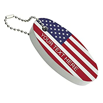Graphics and More American USA Flag Personalized Custom Floating Keychain Oval Foam Fishing Boat Buoy Key Float
