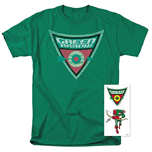 Batman: The Brave and The Bold Green Arrow Shield T Shirt & Stickers (X-Large)