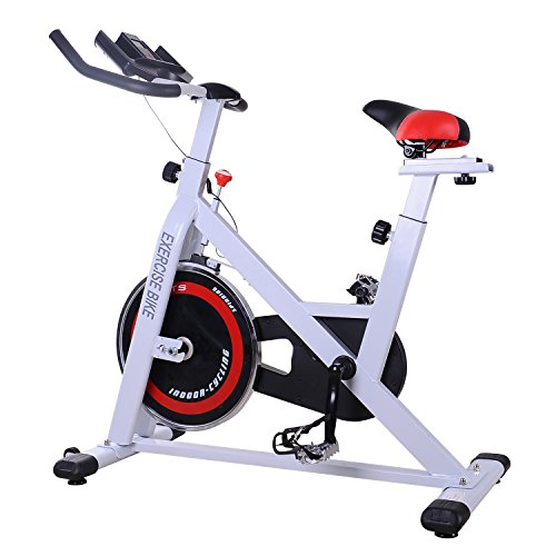 Soozier Stationary Exercise Bike Indoor Bicycle Cycling Trainer Seat & Handlebar Adjustable Home Gym Fitness Workout Equipment with LCD Monitor White