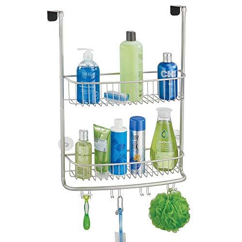 mDesign Duschkorb zum Hängen über die Duschtür – stilvolle Duschablage ohne Bohren – Duschregal aus Metall mit zwei Ebenen und vier Doppelhaken für allerlei Duschzubehör – mattsilberfarben