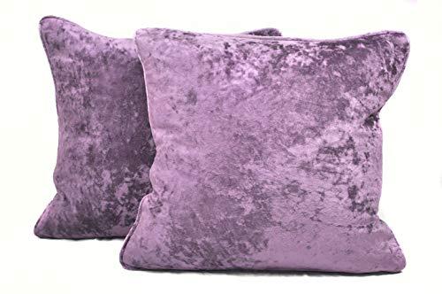 Harvey Williams 45cm x 45cm Crushed Velvet Cushion Cover x 2 (Lavender, 45cm x 45cm)