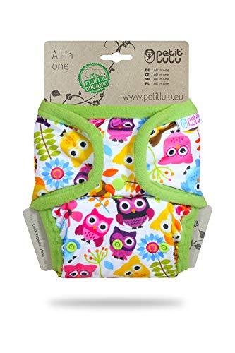 Couche TE1 à poche Petit Lulu | AIO | Fluffy Organic | Fermeture à Pressions | Réutilisable & Lavable | Fabriqué en Europe (Happy Owls)