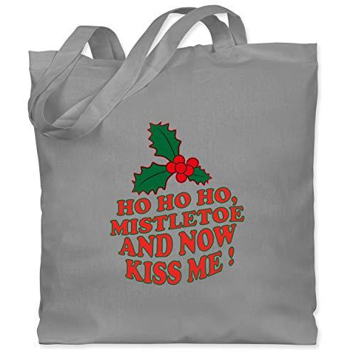 Weihnachten & Silvester - Ho Ho, Mistletoe and now kiss me - Mistelzweig - Unisize - Hellgrau -...
