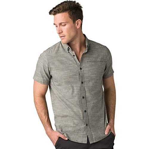 prAna Mens Agua Shirt - Slim, Charcoal, Medium