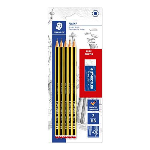 STAEDTLER matite Noris, confezione da 5 matite alta qualità di gradazione HB, con una gomma per cancellare Mars Plastic in omaggio, 120 A SBKD