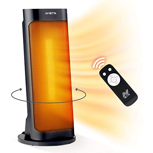 NETTA 2000W Ceramic Heater Oscillating Tower Fast Quiet Portable Heater with Remote Control and Timer, Black