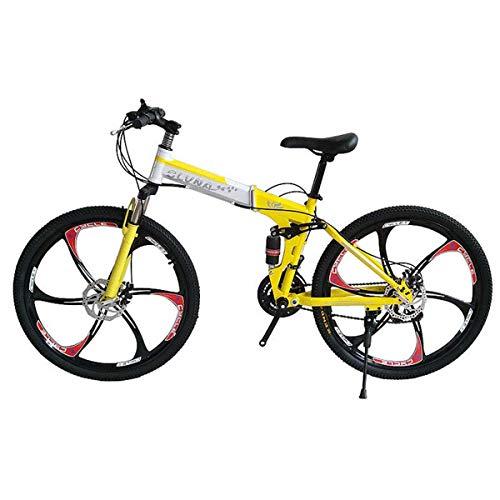 GJNWRQCY Faltbare Double Shock Absorption Doppelscheibenbremse Insgesamt Sechs-Messer-Rad 26 Zoll 27 Speed Male und Female Mountainbike,Gelb