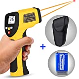 Dual Laser Infrared Thermometer, Zenic Professional Non-Contact Digital Temperature Measuring Gun with Adjustable Emissivity for Cooking/Brewing/Automobile & Industries, -50-650℃, D:S=12:1