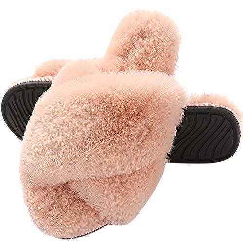 MIYA Dame Extravagant Hausschuhe mit Plüschen Elegante Pelz Flip Flops Fluffy Schuhe Rosa 35 36 S