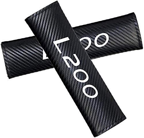2 Piezas Almohadillas para Cinturón de Seguridad, para Mitsubishi L200, Hombreras Carbono Accesorios Interiores de Coche Cuero