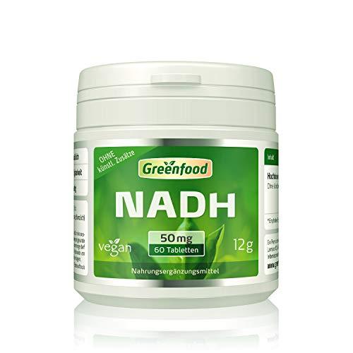 Greenfood NADH, 50 mg, sublingual, extra hochdosiert, 60 Lutschtabletten – ohne künstliche Zusatzstoffe. Vegan