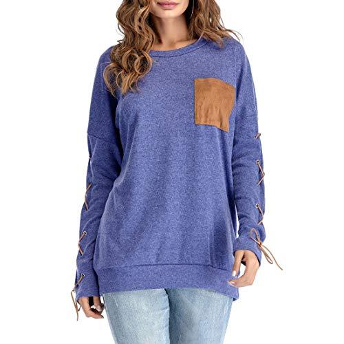 Women T-Shirt Women T-Shirt Elegant Round Neck Long Sleeve Loose and Comfortable Breathable Women T-Shirt Autumn New All-Match Trend Soft Fabric Boutique Women T-Shirt D-Blue M
