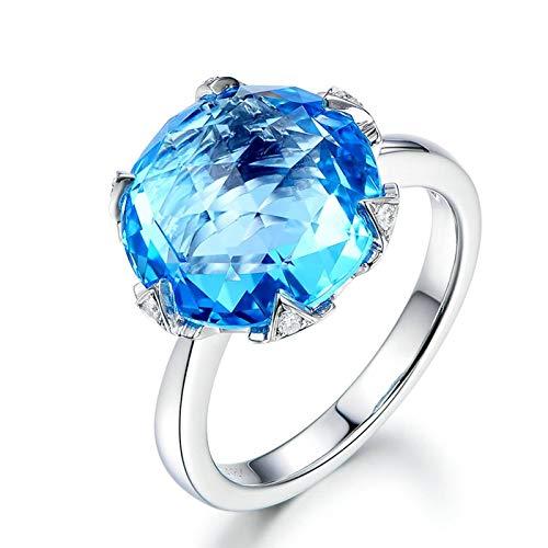 Cenliva Full Eternity Ring, Lesbian Engagement Rings18K Gold 9.5ct Round Cut Topaz IF Ring Size P 1/2
