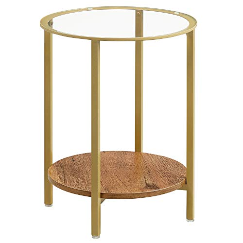 VASAGLE Side Table, End Table with Tempered Glass Top, 2-Tier Round Table for Living Room, Bedroom, Hazelnut Brown and Golden LET204A03