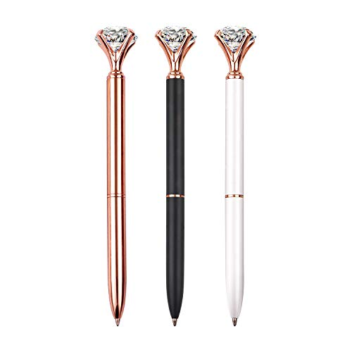 3 PCS Diamond Pen With Big Crystal Bling Metal Ballpoint Pen, Office Supplies And School, Rose Gold/White/Black, Includes 3 Pen Refills