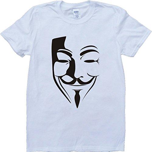 V for Vendetta Mask Short Sleeve Custom Made T-Shirt - White - X-Large