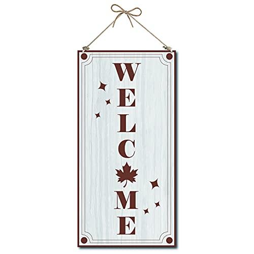CREATCABIN Cartello di Benvenuto per Porta Cartello Decorativo in Legno Decorazioni per La Casa Cartello in Legno Targa da Appendere Wall Art Tavola Legno Cartello per Porta Cartello 6 x 12 Pollice
