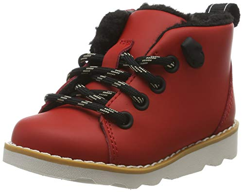 Clarks Jungen Crown Tor T Klassische Stiefel, Rot (Red Leather Red Leather), 24 EU